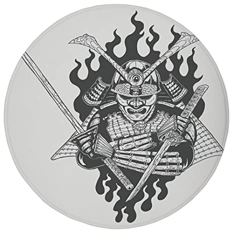 Amazon.com: Round Rug Mat Carpet,Japanese,Fearsome Ghost ...