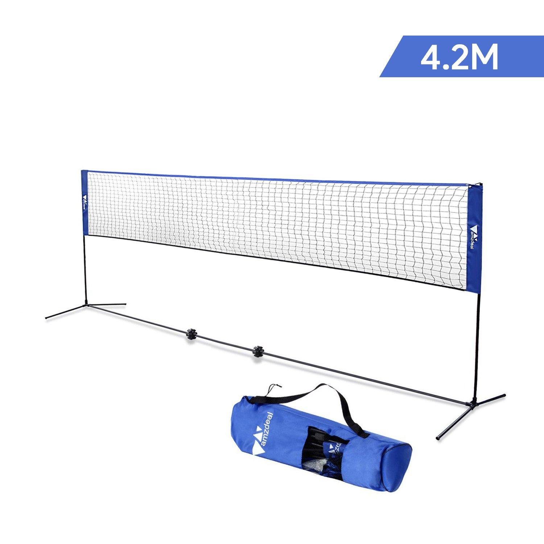 amzdeal Filet de Badminton 4.2m, Ré glable en Hauteur 1.5m Max, Filet Portable en Nylon Badminton, Volley-Ball, Tennis Réglable en Hauteur 1.5m Max Filet Portable en Nylon pour Badminton Tennis (Bleu)