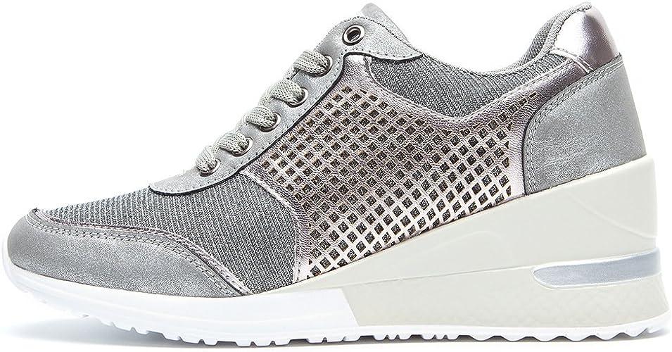 ANJOUFEMME Chaussure Compensee Plateforme Mode pour Femmes Confortables et Respirants Lacets Sneakers, Casual Baskets, Talon de 6 cm, Convient à