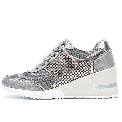 Sneakers con Zeppa Stringate Donna Scarpe Ginnastica Fitness da Donna, Scarpe Sportive Donna Tacco 6 cm