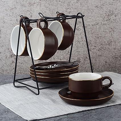 LY-coffee cup Juego de Tazas de café Europeo Taza de café Creativa Juego de