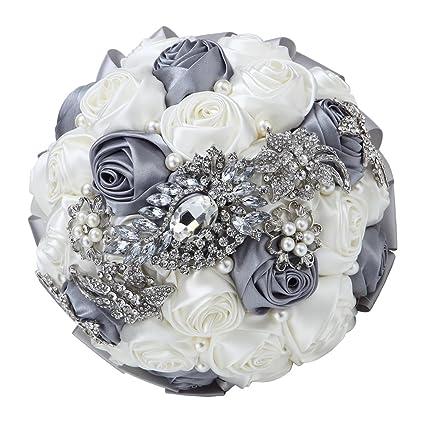 87324a138 Amazon.com: Hand Made Silk Rose Rhinestone Brooch Wedding Bouquets  Customization Pearls Bride Holding Flowers: Home & Kitchen
