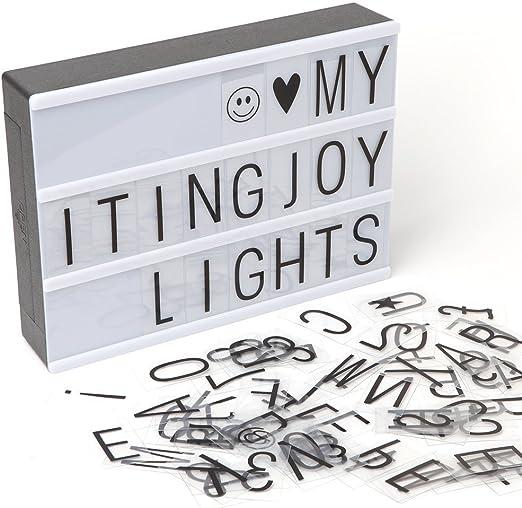 Caja de luz, LED LIGHTBOX con 90 piezas letras, emojis y símbolos ...