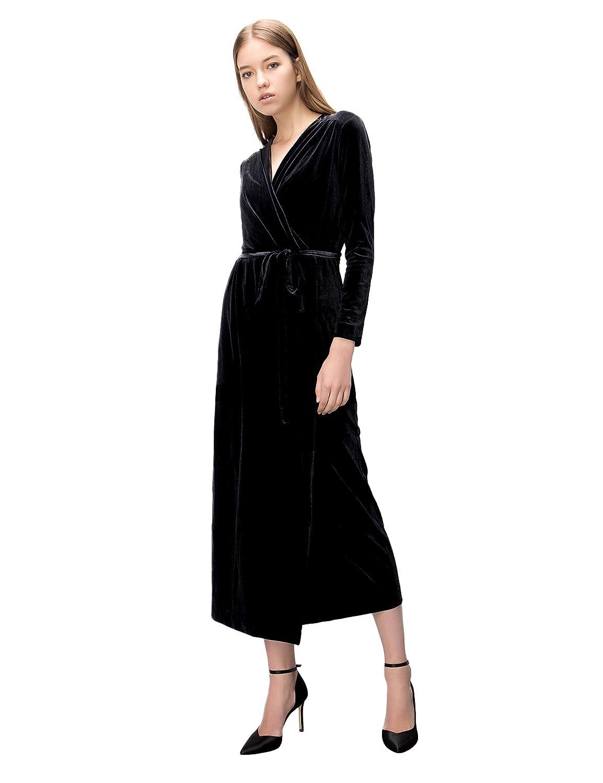 Look for less velvet dress on the hunt - Amazon Com Simple Retro Women S V Neck Velvet Belted Wrap Maxi Dress Clothing