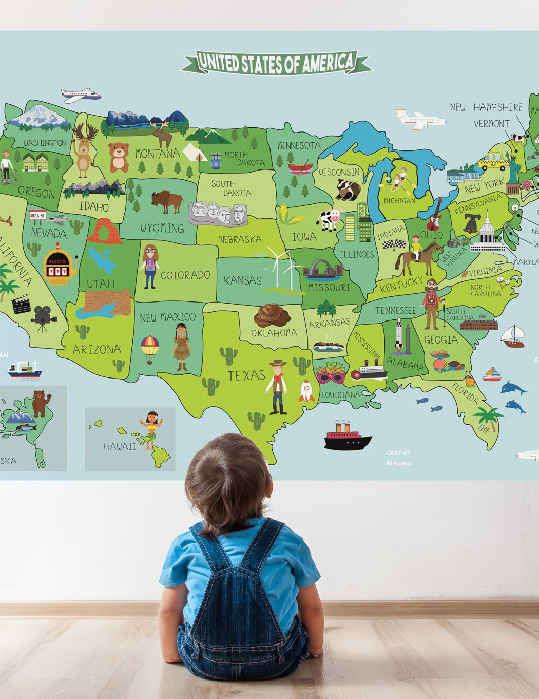 Map of United States Fabric Sticker, Peel and Stick Removable USA Wall Decal (Medium)