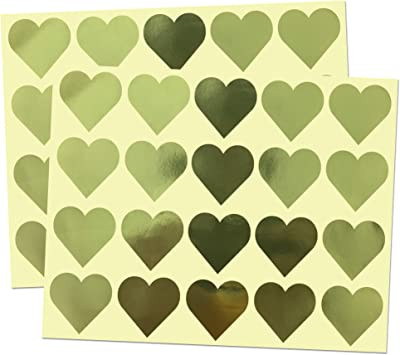 Metallic Gold HEART stickers shipping labels and tags personalised address x 50
