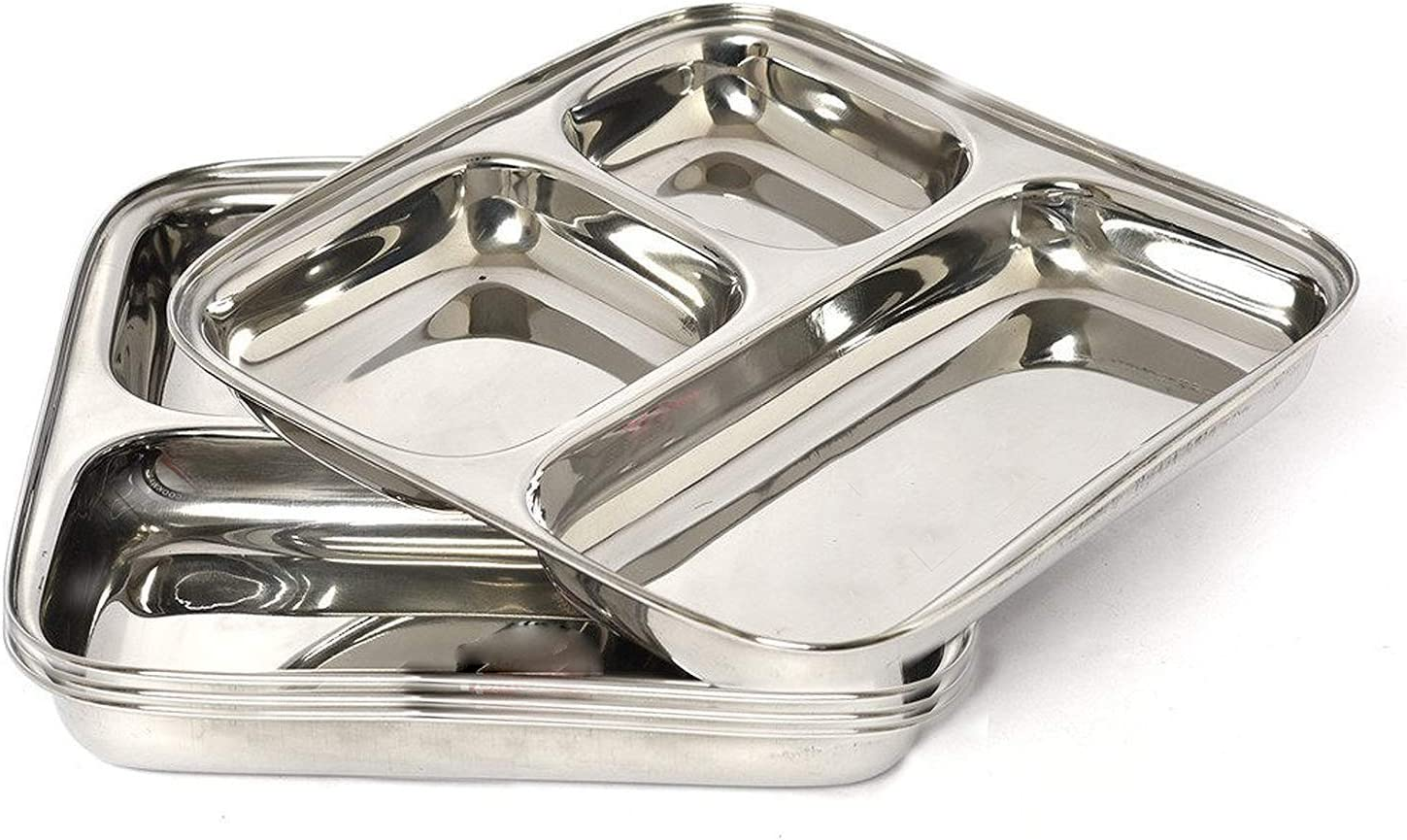 IndiaBigShop 100% Stainless Steel Three in one Dinner Plate Three sections divided plate Three section plate -Set of 4
