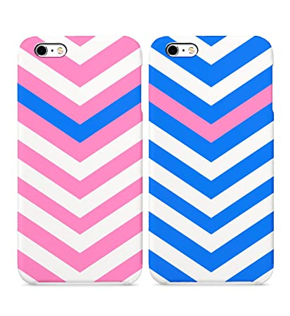 Amazon Com Blue And Pink Stripes Matching Colors Hard Plastic