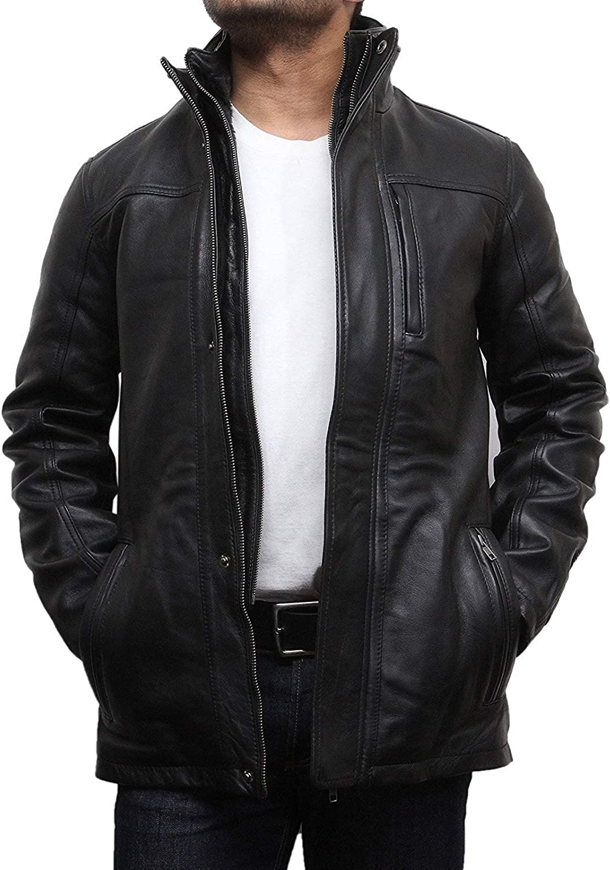 Brandslock Mens Genuine Leather Biker Jacket Vintage Pockets Casual