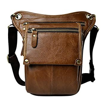 908ae231d43a Genda 2Archer Genuine Leather Fanny Pack Belt Bag Waist Purse Hip Pouch  (Brown 2)