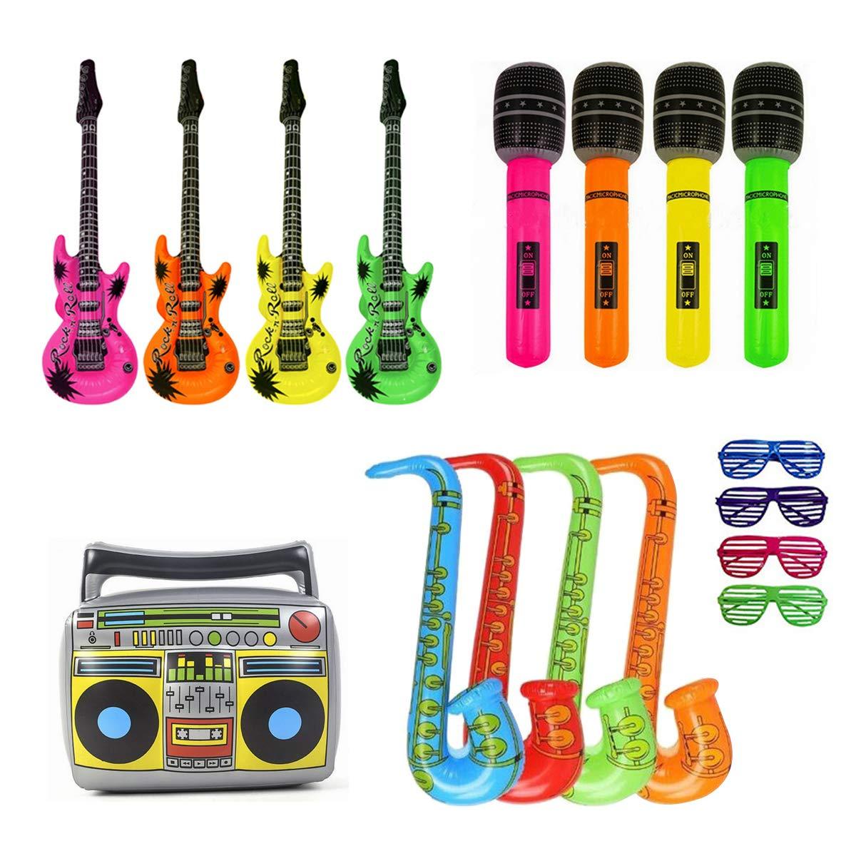 ANBET 17 UNIDS Globo de Instrumentos Musicales Inflables Rock Star Toy Set Kid Favores de Fiesta Suministros Accesorios M/úsica Decoraci/ón Accesorios