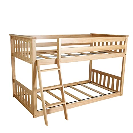 Amazon Com Max Lily Twin Over Twin Low Bunk Bed Natural Kitchen