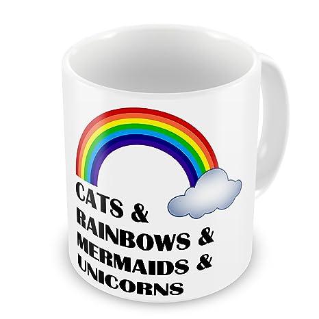 De gatos y ovillos de arcoíris e de sirenas e unicornios diseño de taza