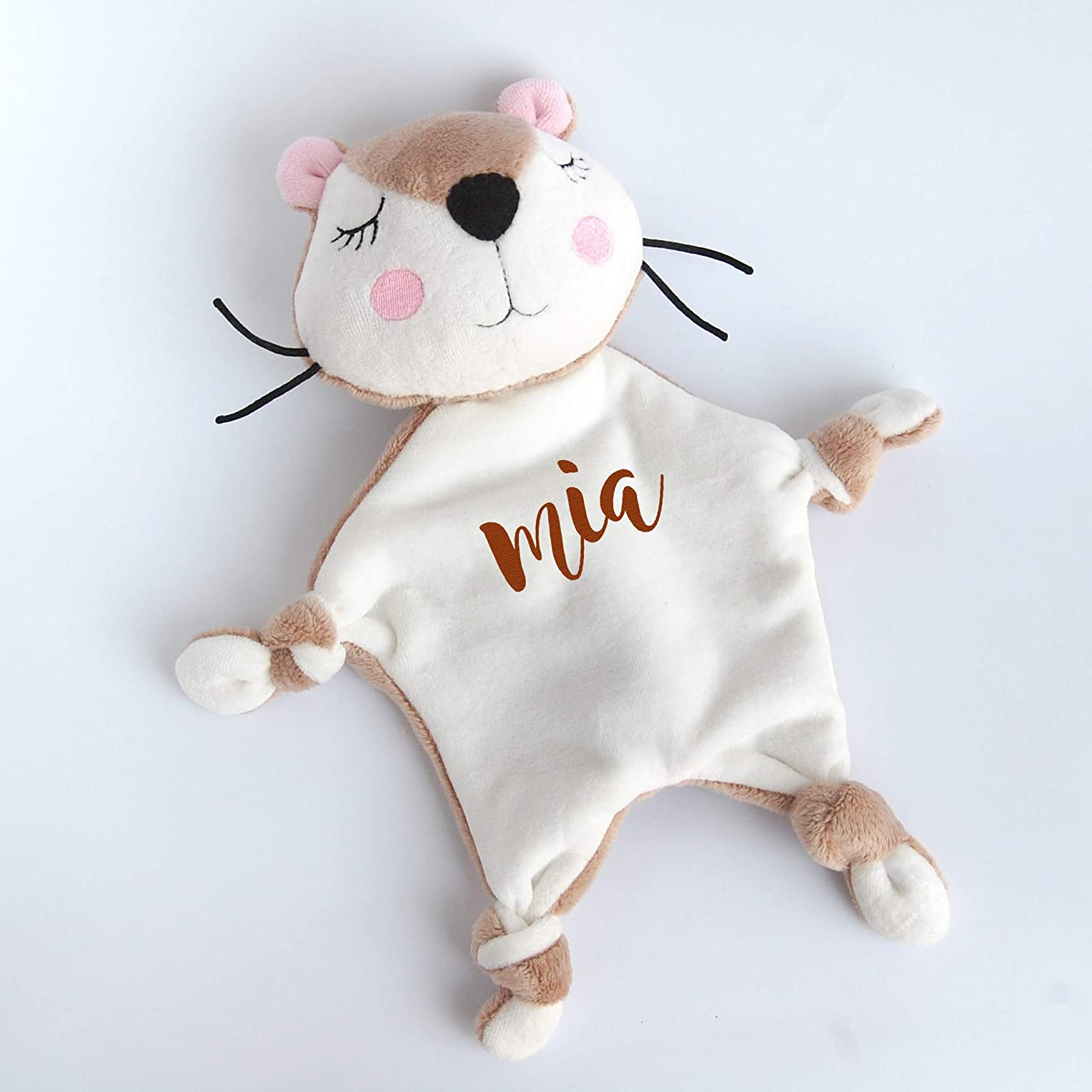 Otter Plush Personalized Baby Lovey Custom Gift Woodland Baby Shower Blanket