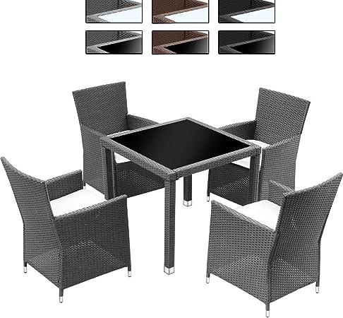 Miadomodo Salon de jardin terrasse Gris - Ensemble 4 chaises - en résine  tressée - table noir 80 x 80 x 75 cm - DIVERSES COULEURS AU CHOIX