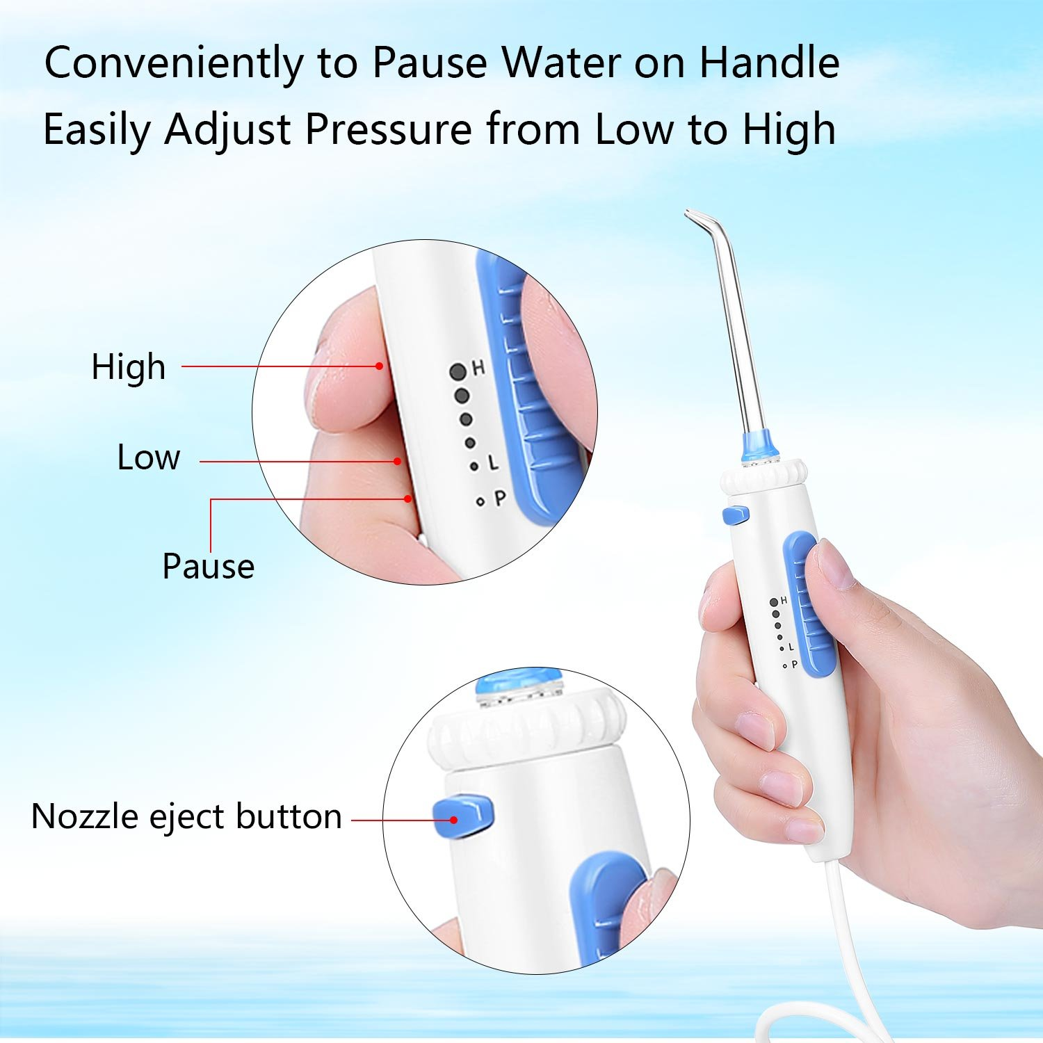 H2ofloss Dental Water Flosser for Teeth Cleaning With 12 Multifunctional Tips  800ml Capacity
