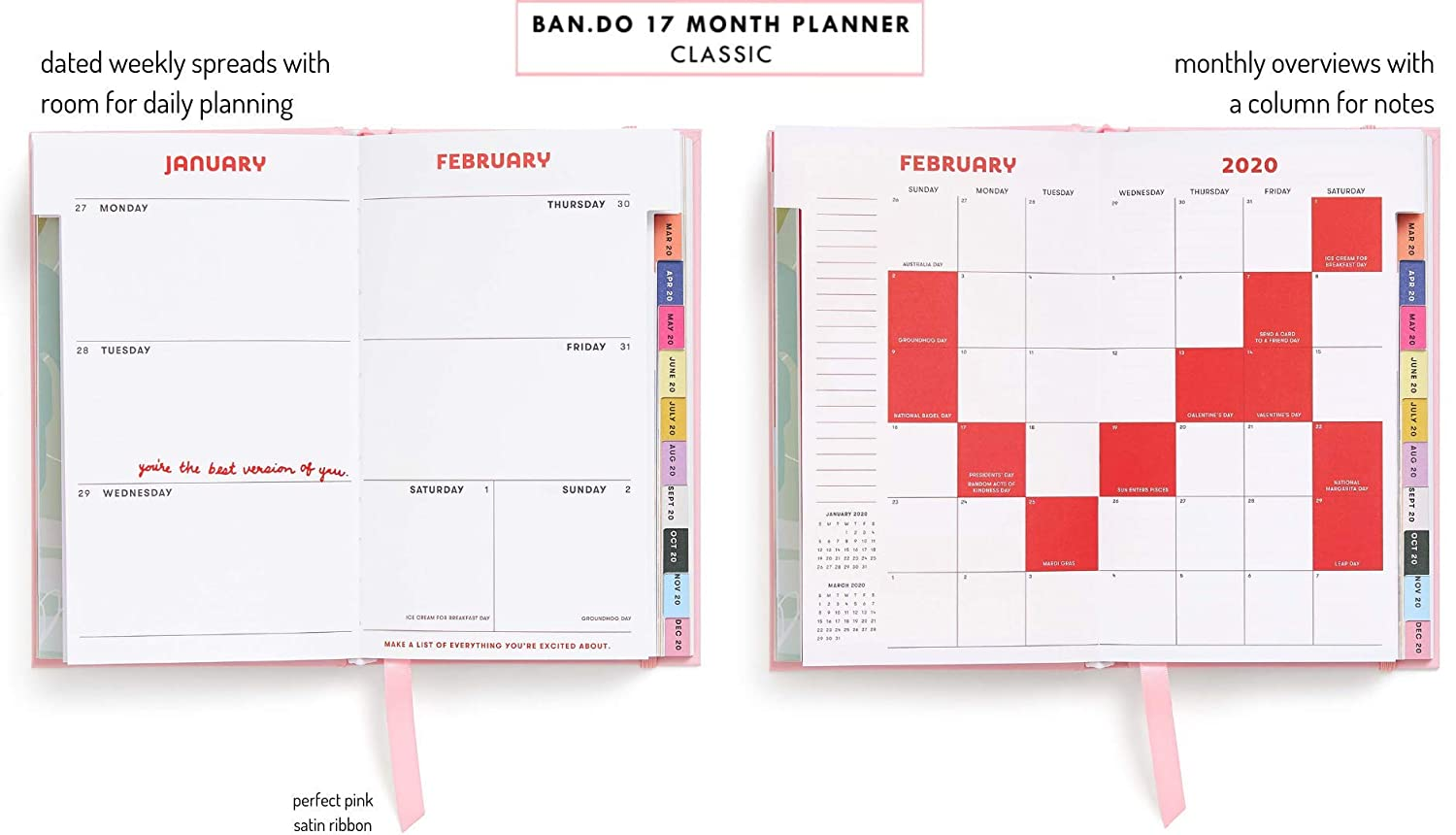 Ban.do 17 Month 2019-2020 Classic Daily Planner with Weekly & Monthly Views, 8.13