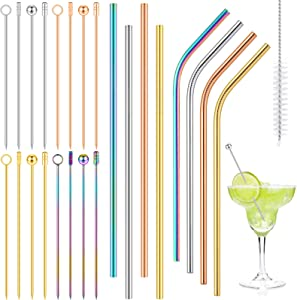 Vesici 25 Pieces Cocktail Picks and Straws Set, 16 Colorful Metal Martini Pick Appetizer Fruits Drink Sticks, 8 Stainless Steel Straws and Cleaning Brush, Cocktail Toothpicks Skewers Home, Party, Bar