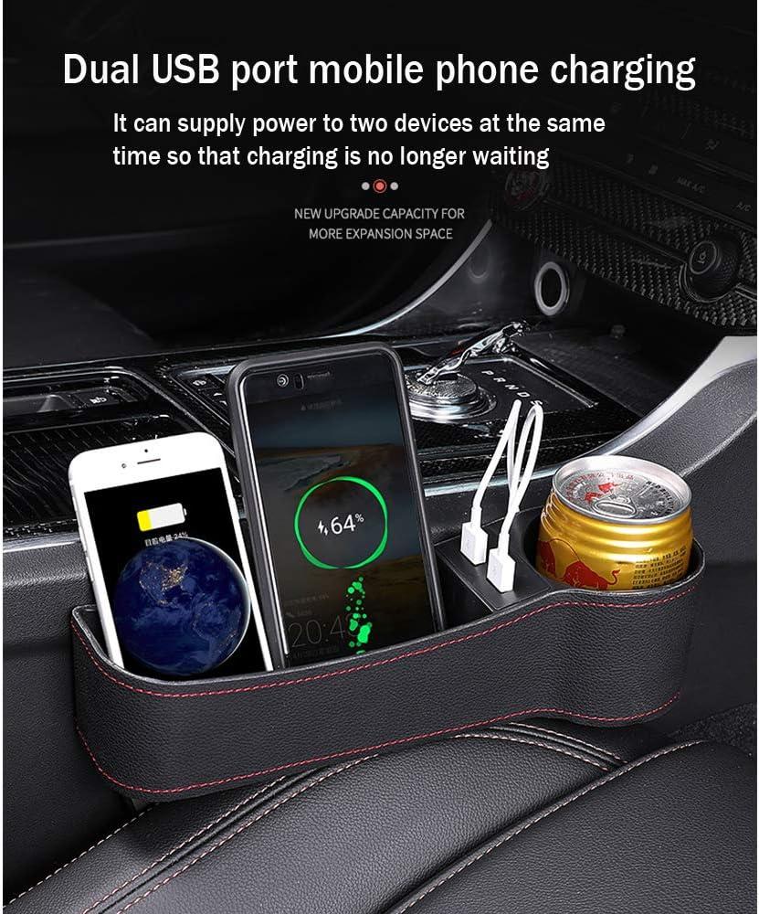 Multifonction Bo/îte de Rangement en Cuir avec Double Charge USB GPPSUN Organiseur de Si/ège de Voiture Apte /à Citroen C1 C2 C3 Porte-Gobelet,Beige,Left Driving Position