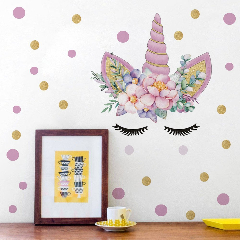 LHKSER Cute Colorful Unicorn Wall Decal Wall Sticker Unicorn Floral Decal Nursery Bedroom Decal Vinyl Wall Decal Home Decor (A)