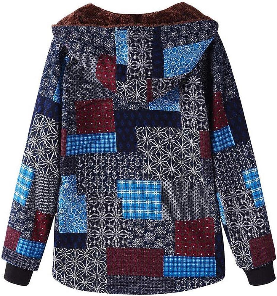 Lazzboy Women Coat Jacket Ethnic Boho Print Warm Flannel Inner Cotton Padded Hooded Loose Outerwear,Oversized Plus Size,UK 12-24