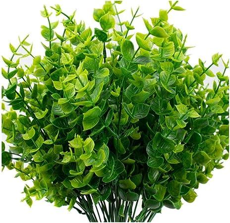 GOHHK Decoración Artificial Flores Falsas UV Resistente Faux Plástico Verde Follaje Plantas Arbustos para jardín Boda afuera Colgante Jardinera Exterior Etc Decoración 6 Bundles: Amazon.es: Hogar