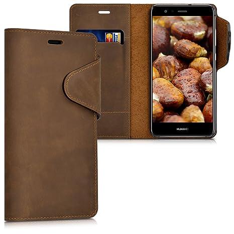 kalibri Cover per Huawei P10 Lite - Custodia Protettiva a Portafoglio per Cellulare in Vera Pelle con Porta Carte e Funzione Stand - Wallet Case