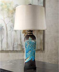 Mazara Modern Table Lamp Ceramic Rust and Blue Beige Tapered Drum Shade Living Room Family Bedroom Bedside Nightstand - Possini Euro Design
