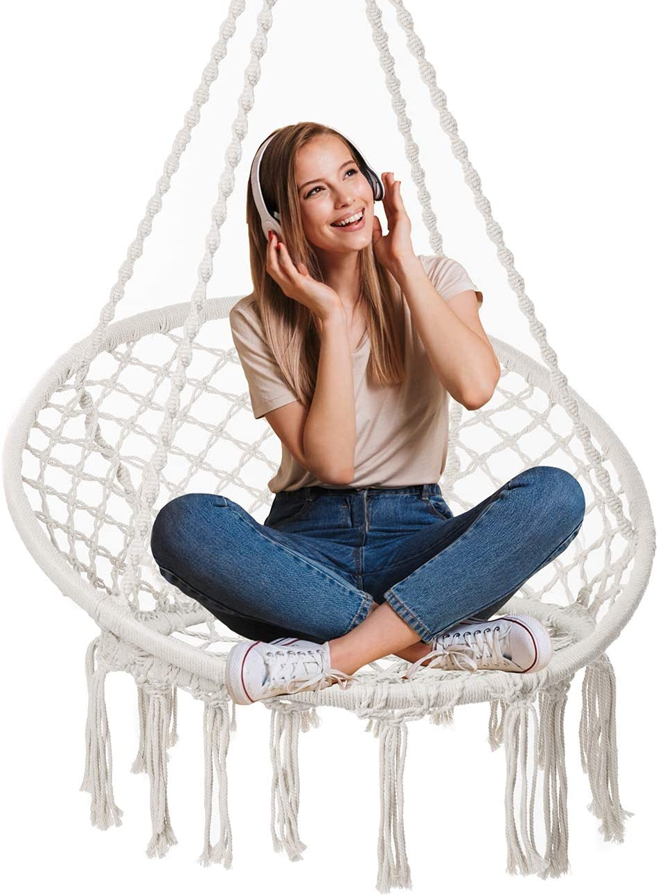 Showpin Hammock Chair Macrame Swing 330 Pound Capacity Handmade Hanging Swing Chair Prefect for Indoor Outdoor Home Patio Deck Yard Garden Reading Leisure Cream