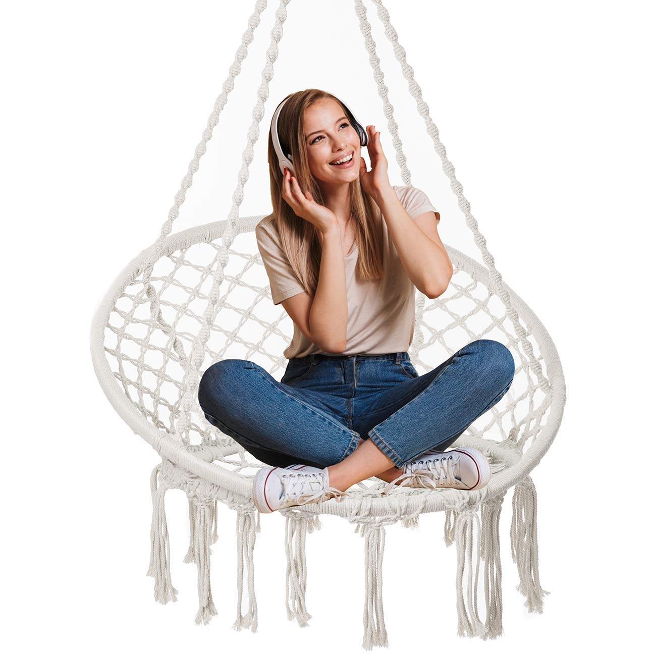 Showpin Hammock Chair Macrame Swing 330 Pound Capacity Handmade Hanging Swing Chair Prefect for Indoor Outdoor Home Patio Deck Yard Garden Reading Leisure Cream
