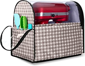 Yarwo Visible Stand Mixer Cover for 6-8 qt KitchenAid Mixer, Dust Cover with Multiple Pockets for Extra Kitchen Accessories, Gray Dots