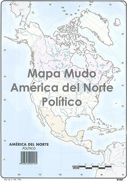 Mapa Mudo SELVI Color Din-A4 América Del Norte Político, Caja x50: Amazon.es: Oficina y papelería