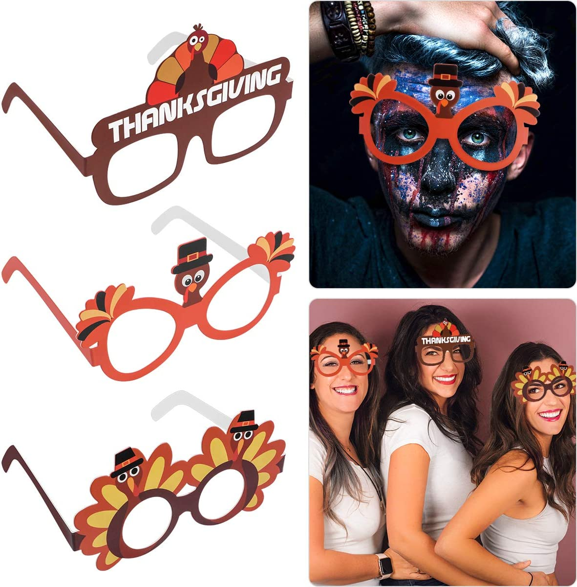 Cartoon Sunglasses Creative Thanksgiving Day Turkey Eyeglasses Cosplay Party Favor Supplies 9PCS