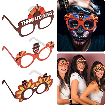Amosfun 9 UNIDS Gafas de Pavo Gafas de Acción de Gracias ...