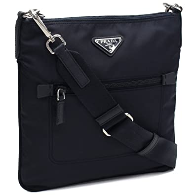 93d55b6811cb Amazon.com  Prada Black Tessuto Nylon Messenger Crossbody Handbag 1BH716   Shoes