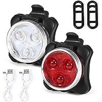 Domary Conjunto de luzes de bicicleta à prova d'água USB recarregável para bicicleta luzes dianteiras e traseiras farol…