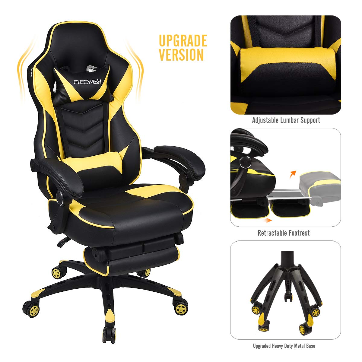 Video Gaming Chair Racing Office - PU Leather High Back Ergonomic Adjustable Swivel Executive Computer Desk Task Large Size with Footrest,Headrest and Lumbar Support (Black+Yellow)