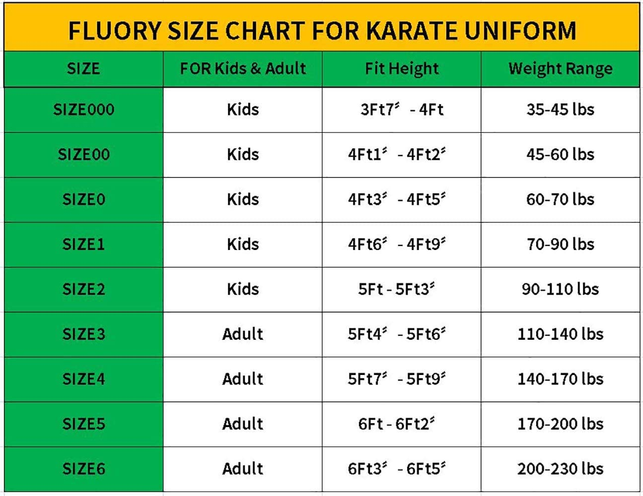 White Karate Gi for Adult /& Children Size 000-6 FLUORY Karate Uniform with Belt