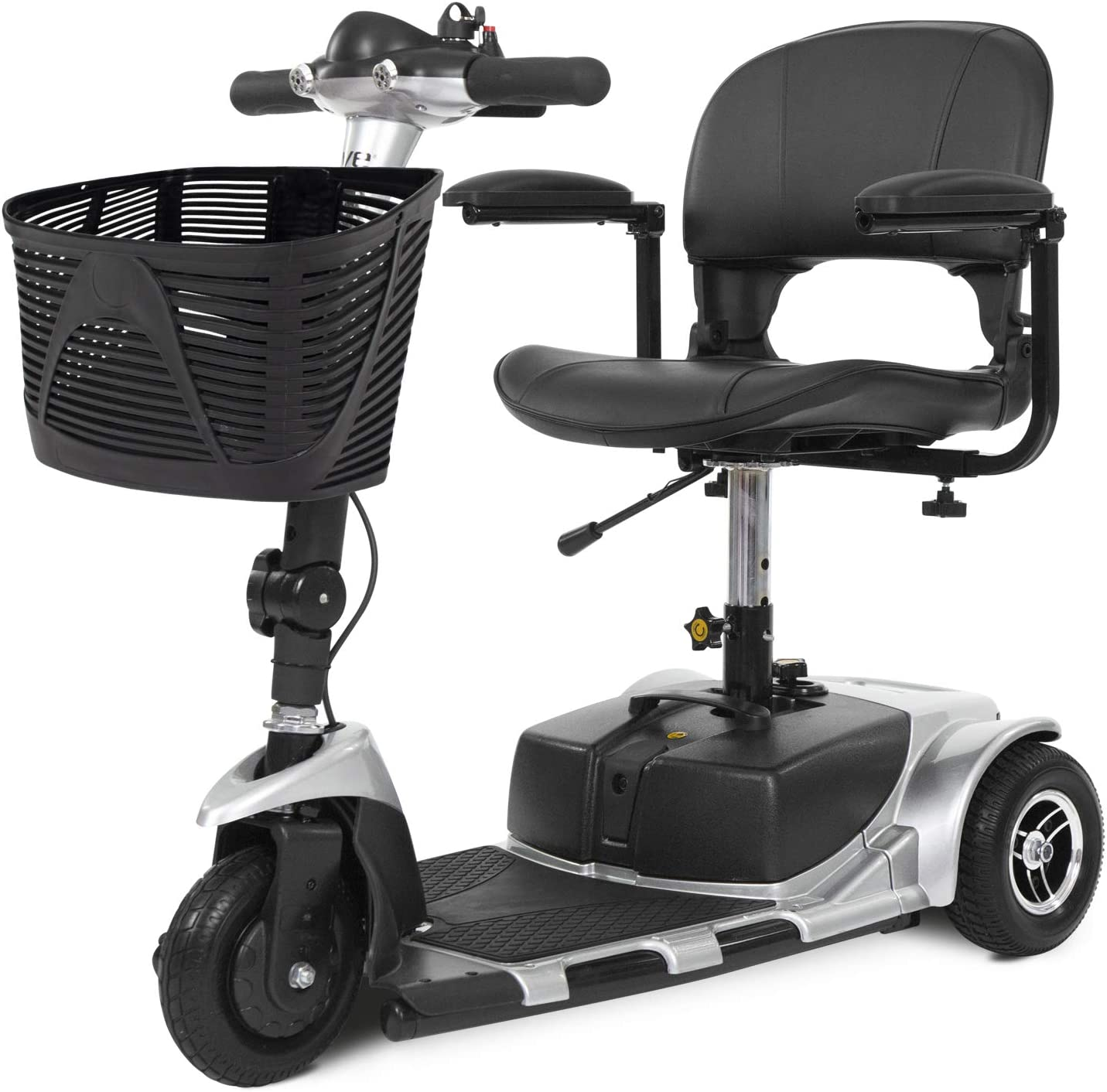 Vive 3-Wheel Mobility Scooter - Electric Powered Mobile Wheelchair Device for Adults - Folding, Collapsible and Compact for Travel - Long Range Power Extended Battery with Charger and Basket Included
