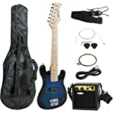 """Smartxchoices 30"""" Inch Kids Electric Guitar with 5W Amplifier,Picks, Gig Bag, Strap, Cable & Much More Guitar Combo Accessory Kit Holiday Gift (Blue)"""
