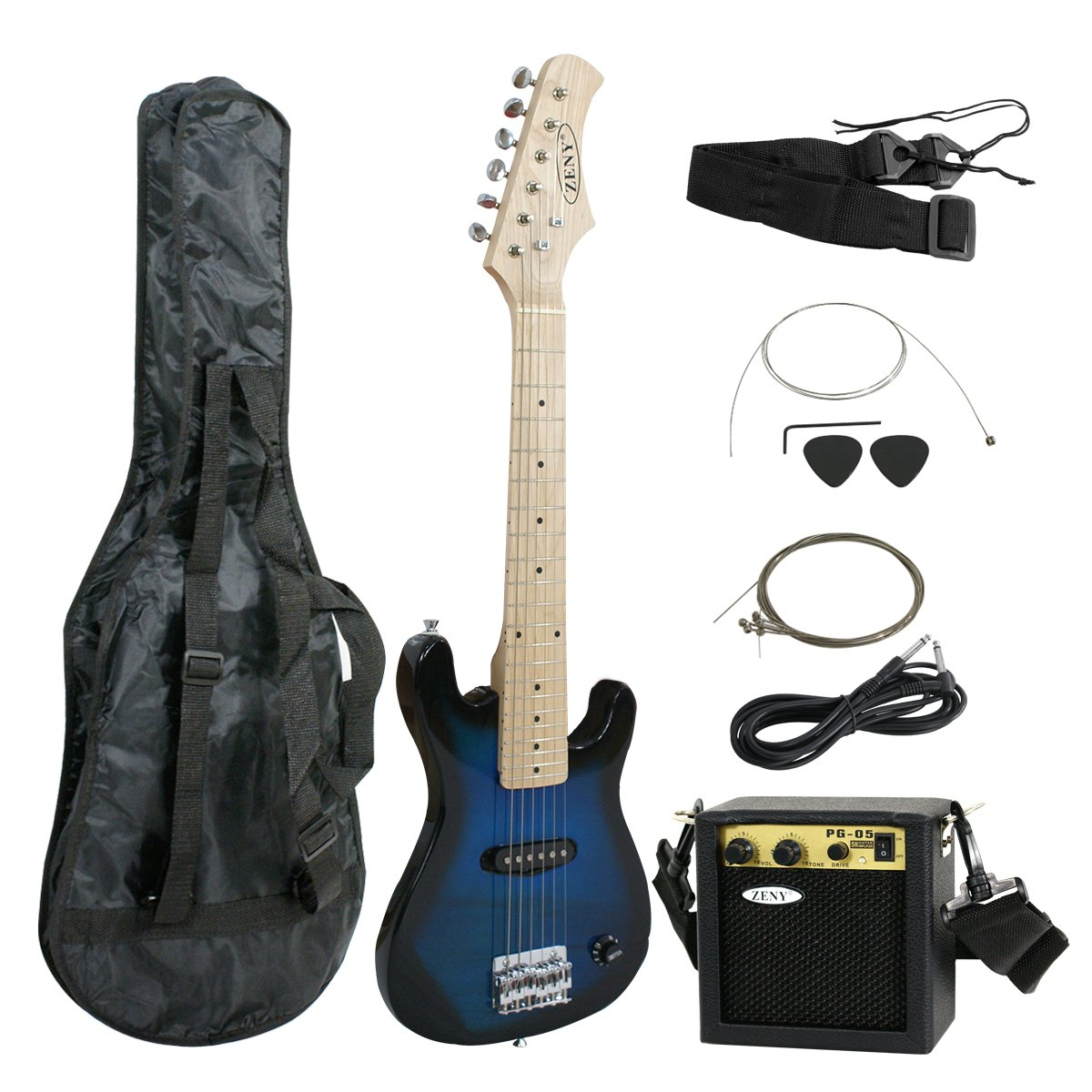 """Amazon.com: ZENY Blue 30"""" Inch Kids Electric Guitar With 5W Amp Cable Cord  shoulder strap New (Blue): Musical Instruments"""