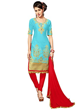 e4f6e4adf3a Amazon.com  SB Fashion Readymade Blue Coloured Glace Cotton Fabric Salwar  Suit  Clothing