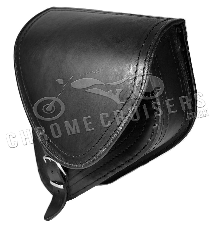 Cuero Negro Basculante Malet/ín Bolsa Individual para Harley Davidson Softail