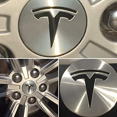 Tesla Model S/X / 3 Wheel Center Cap Accent T Decals (Black Gloss): Automotive