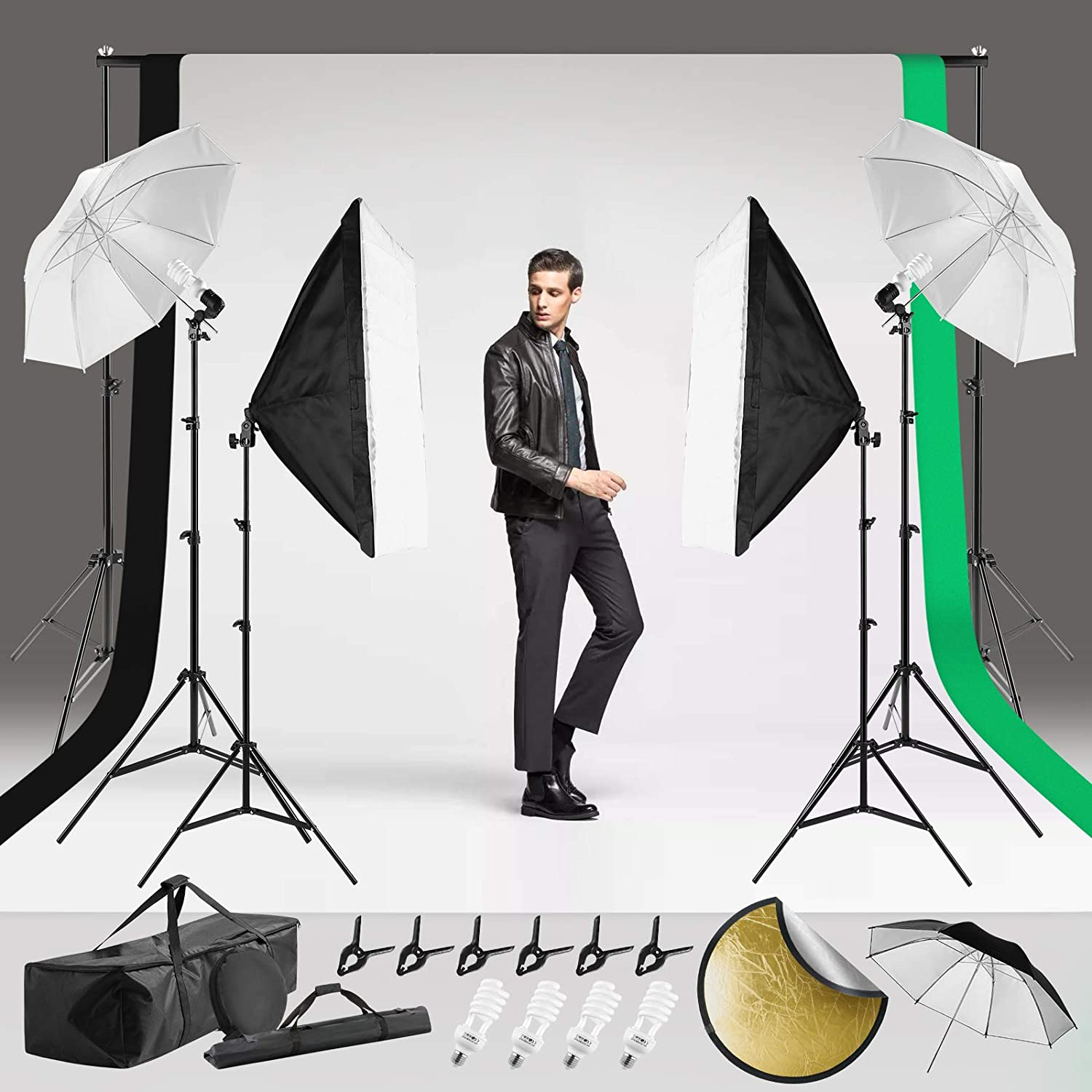 COSVALVE Photography Lighting Kit,800W 5500K Light Umbrella Continuous Softbox Professional Set with Adjustable 2X3M Background Support System,3 Color Backdrop for Photo Portrait Studio Video Shooting