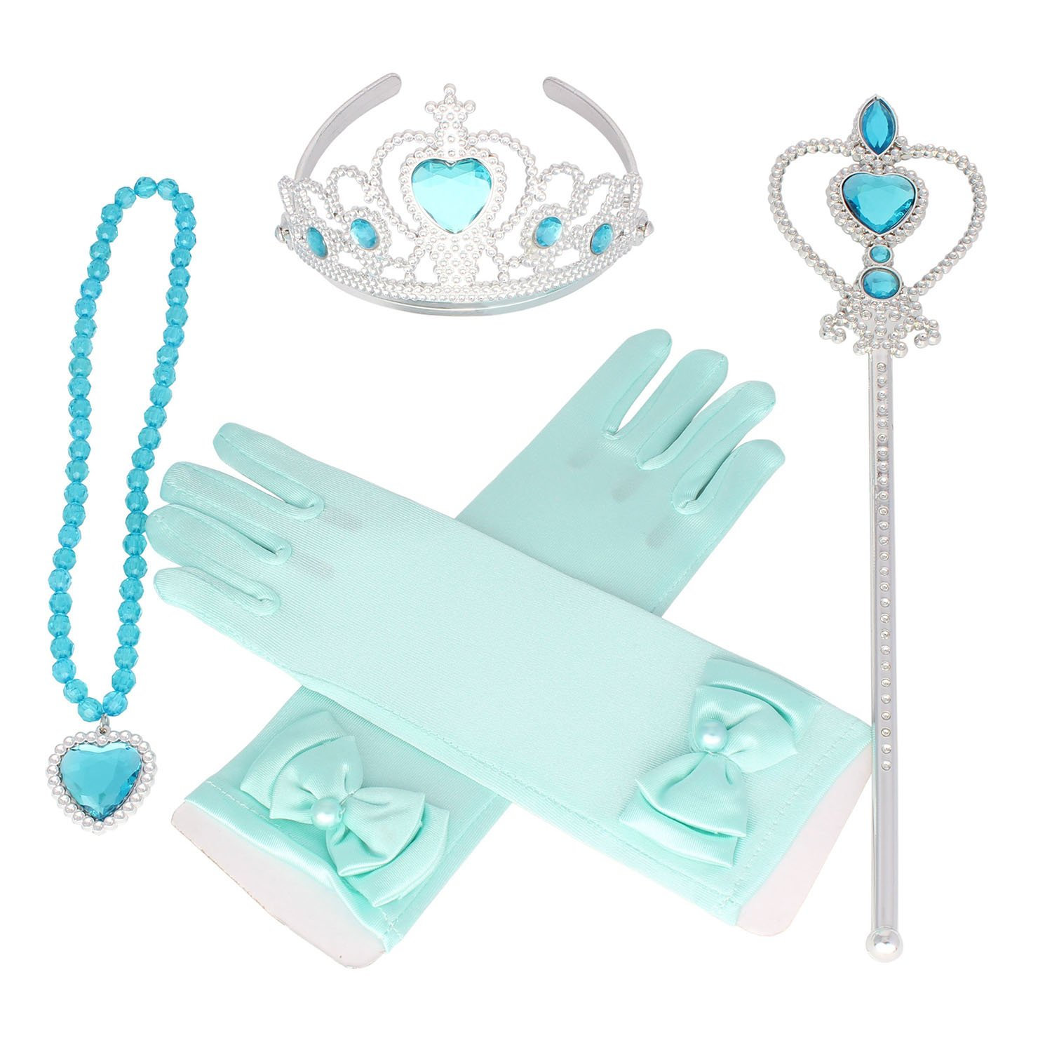 Tiaras and Crowns for Little Girls Princess Wands Gloves Tiara and Necklace Set 4 Ps Sky Blue