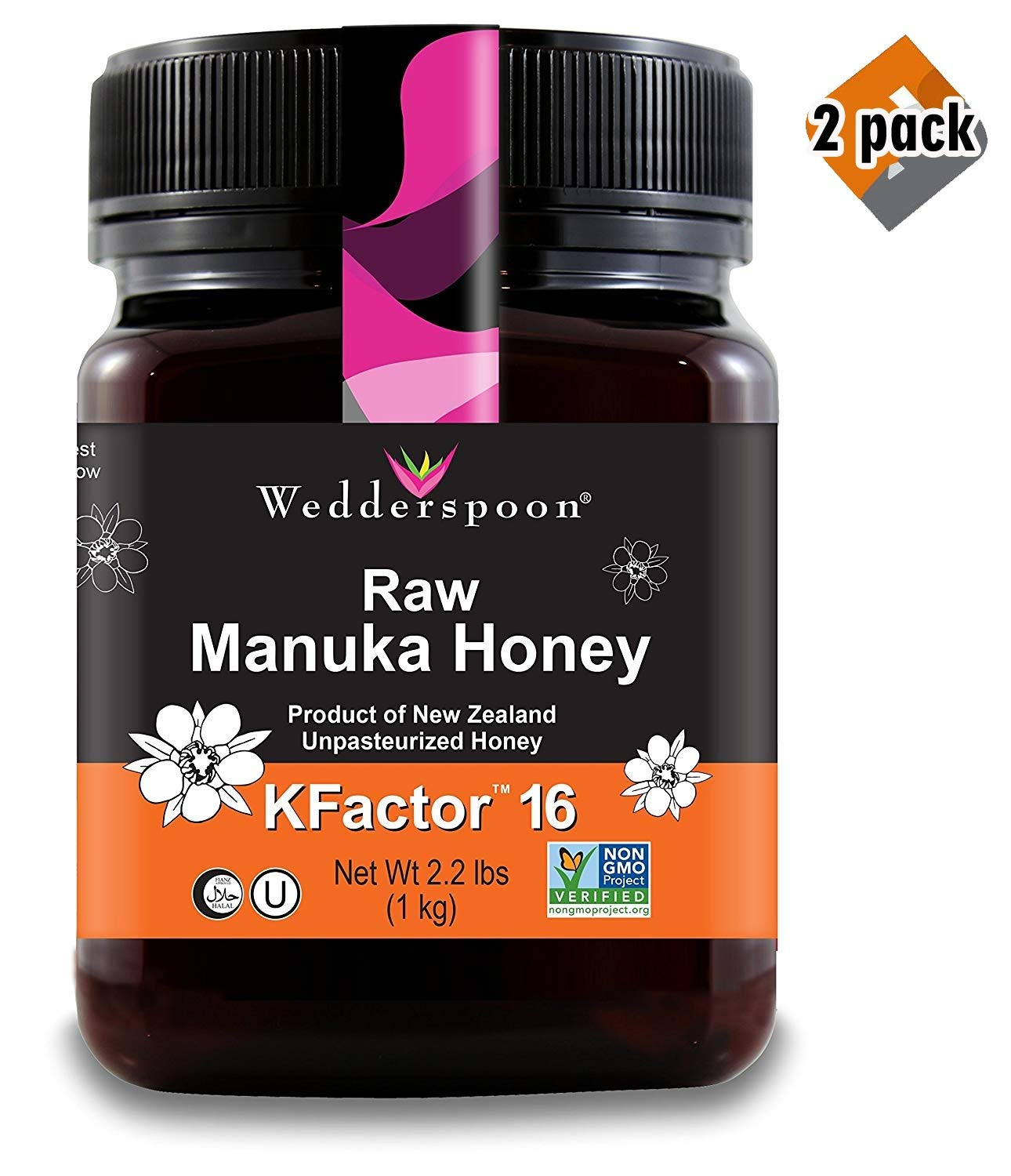 Wedderspoon Raw Premium Manuka Honey KFactor 16, Unpasteurized, Genuine New Zealand Honey, Multi-Functional, Non-GMO Superfood, 35.2 oz, 2 Pack