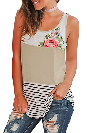 851be343ff3378 Womens Tank Tops Summer Long Color Block Floral Striped Cute Loose  Sleeveless Tunic Shirts Tank Tops