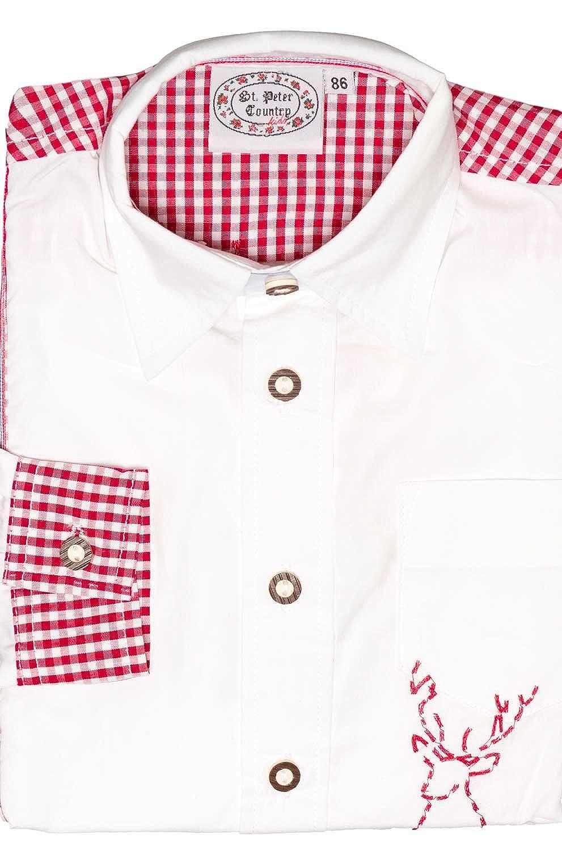 Stützle St. Peter Trachten Kinder Trachtenhemd 70.191 weiß rot
