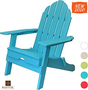 ResinTEAK Plastic Folding Adirondack Chair | Adult-Size, Weather Resistant for Patio Deck Garden, Backyard & Lawn Furniture | Easy Maintenance & Classic Adirondack Chair Design (Blue)